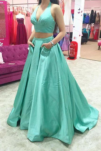 Sexy V-neckline Green Prom Dress, Two Pieces Prom Dress,Halter Neckline Prom Gown,Two Pieces Party Dress,Halter Neckline Graduation Dress, Prom Dress with Pockets