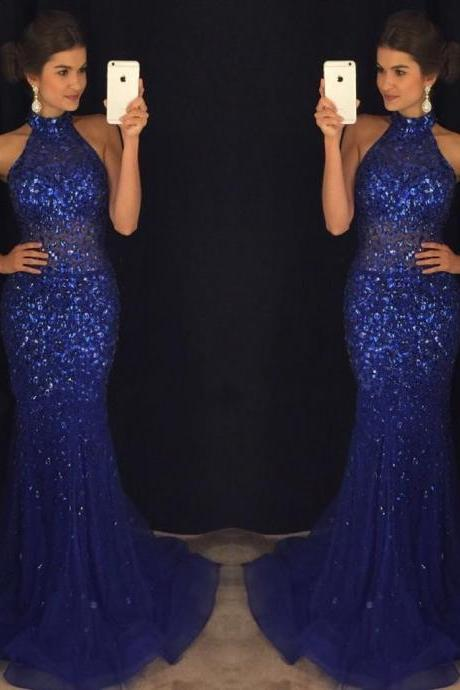 Mermaid Navy Blue High Neck Rhinestone Sequin Prom Dresses, Blingbling Prom Dress, Sexy Evening Dress, Backless Prom Dress, Mermaid Prom Dress, Charming Prom Dress