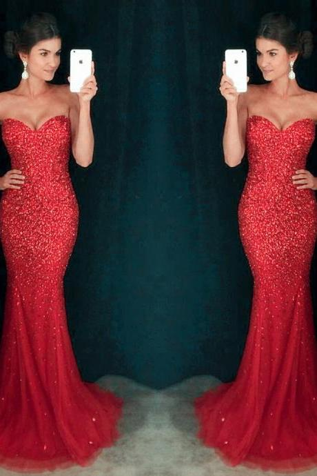 Sexy Sweetheart Prom Dresses, Red Sequin Prom Dresses, Mermaid Prom Dresses,Tulle Prom Dresses, Rhinestone Prom Dresses, Charming Evening Dress