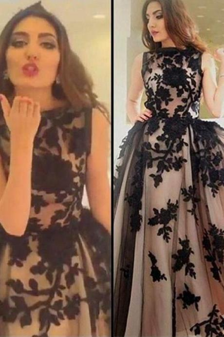 Black Lace Prom Dress, 2017 Prom Dresses, Long Prom Dress,Prom Party Dresses,A-line Prom Dresses,Evening Dress,Black and Champagne Evening Dresses