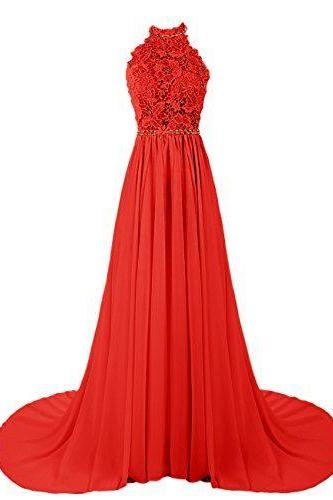 New Arrival Long Prom Dress,Elegant Prom Dresses,Chiffon Evening Dress,Red Formal Evening Gown