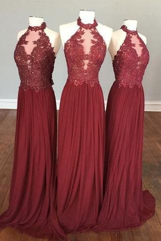 Burgundy Prom Dress, Long Prom Dress, 2017 Prom Dress, Halter Prom Dress