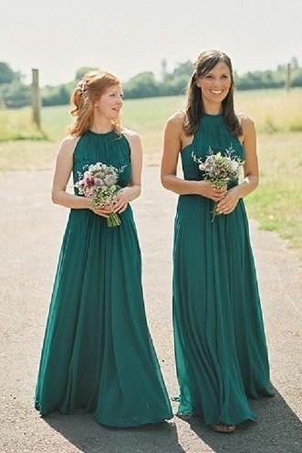 Long Emerald Green Bridesmaids Dresses, Halter Bridesmaids Dresses, Chiffon Bridesmaid Dress, Long Bridesmaids Dresses, Bridesmaids Dresses 2017
