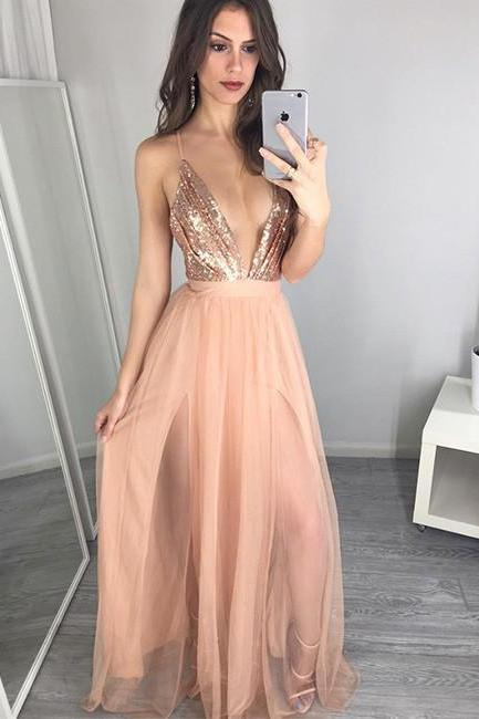 Sexy Prom Dress,Spaghetti Straps Prom Dress,A-Line Prom Dress, Evening Dress, Open Back Prom Dresses