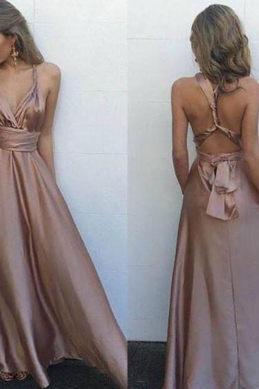 Sexy V Neck Maxi Dress,Gorgeous Satin Prom Dress,Sleeveless Prom Dresses,Long Evening Dress, Sexy Back Prom Dresses