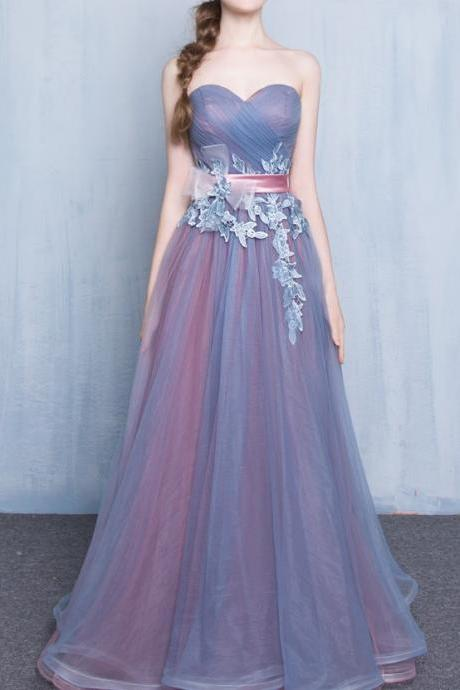 Vintage Inspired Strapless Sweetheart Lace Prom Dress, Elegant Long Tulle Prom Dress, Sweetheart Prom Dress, Lace up Prom Dress, Pretty Graduation Dresses, Long Formal Dresses, Prom Dress for Teens