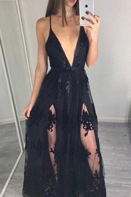 Lace Appliques Prom Dress, 2017 Sexy Prom Dress,Black V Neck Prom Dresses,Sleeveless Tulle and Lace Prom Dresses, Lace Evening Dress, Sexy Prom Party Dress