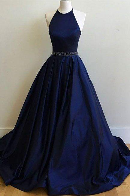 Charming Prom Dress,Sexy Prom Dress, Simple Halter Prom dress, Navy Blue Prom Dress, Ball Gowns