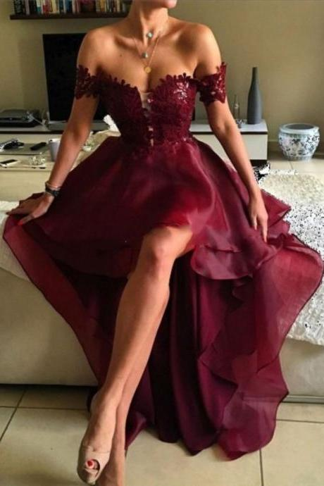 2017 Prom Dress, Hi-low Prom Dress, A-line Off-the-shoulder Prom Dresses, Asymmetrical Prom Dresses, Appliques Lace Backless Prom Dresses, High Low Sexy Prom Dresses