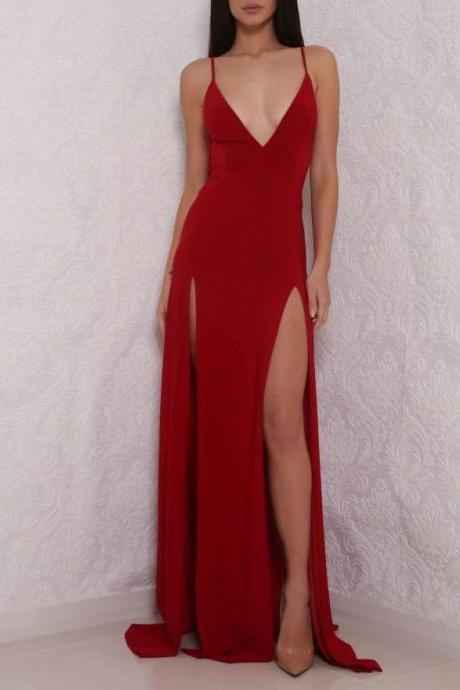 Sexy Deep V Neck Red Prom Dress, High Slit Prom Dress, Sexy Backless Gown, Backless Evening Dress, Prom Formal Dress, Woman Dress