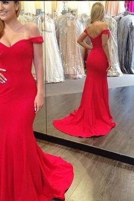 Off Shoulder Red Mermaid Prom Dresses,Sexy Prom Dress,Long Evening Dress,Formal Party Dress, Woman Prom Dress for Weddings and Evening Events
