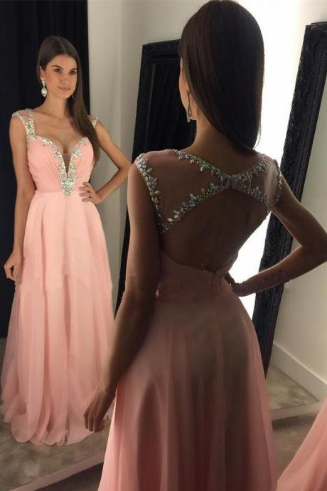 Sexy Prom Dress,Long Evening Dresses,Blush Prom Dress,Open Back Prom Dress,Pink Chiffon Prom Dress ,Beading Prom Dresses, Sexy Evening Dresses