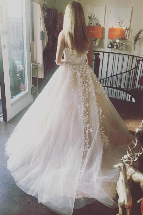 Elegant Tulle Lace Ball Gown, Ivory Prom Dress, Blue Prom Dress, Strapless Prom Dress, Formal Prom Dress, Long Prom Dress, Prom Dress for Teens