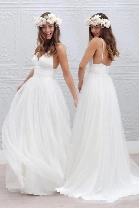 Simple V-neck Floor-Length Wedding Dress With Ruched Sash, Summer Wedding Dress, White Wedding Formal Dress, Beach Wedding Dress, Tulle Wedding Dress, Bride Dresses