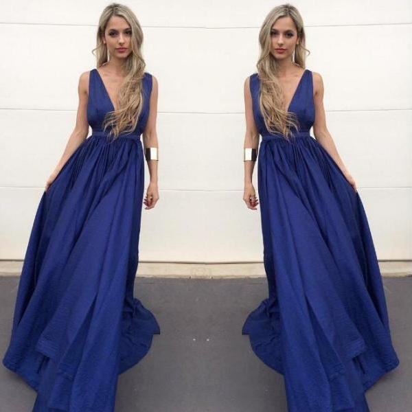 Simple Navy Blue A-Line Deep V-Neck Long Prom Dress Evening Dress