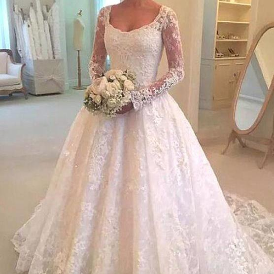 Attractive Scoop Neckline A-Line Tulle Wedding Dress With Beadings and Lace Appliques