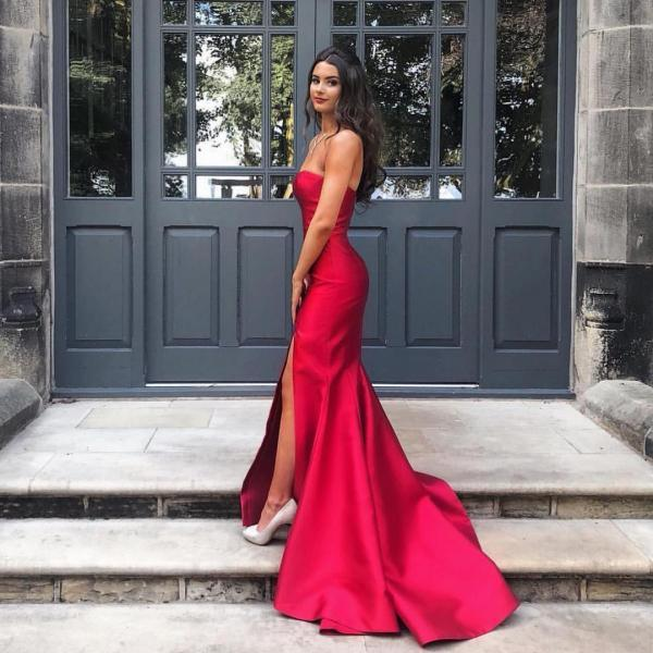 Sexy Strapless Red Satin Simple Long Prom Dress with Slit, Evening Gown with Train