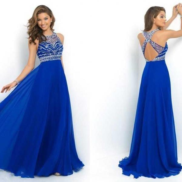 Elegant Royal Blue Chiffon A-Line Prom Dress 2016, Halter Backless ...