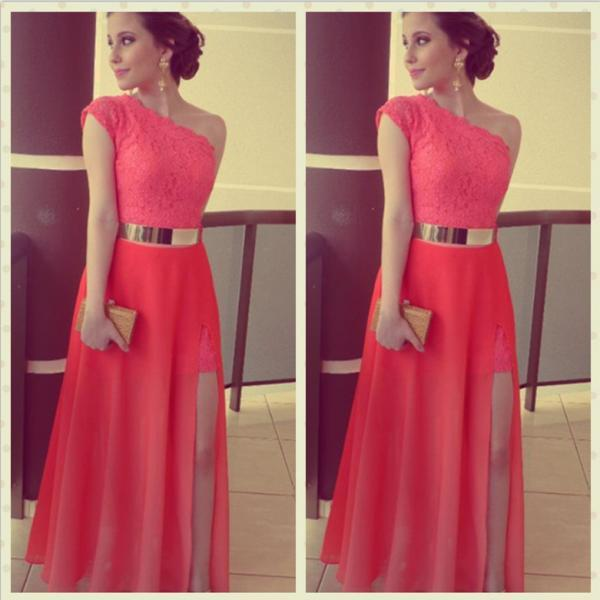 Hi-Lo Prom Dresses with Gold Metal Belt Lace Bodice Coral Cocktail Dresses Sexy Long Party Dresses, Long Prom Dresses, Dresses For Prom
