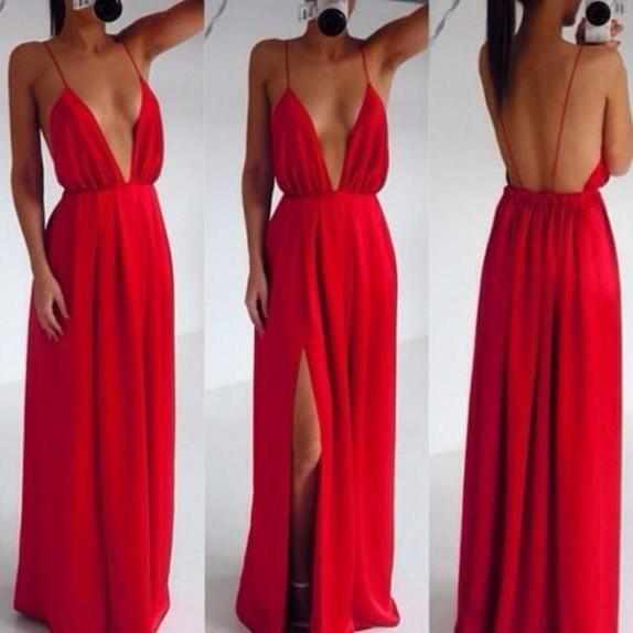 Free Shipping Custom Made Red Backless V Neck Prom Dresses 2015, Red Backless Formal Dresses, Backless Evening Dresse