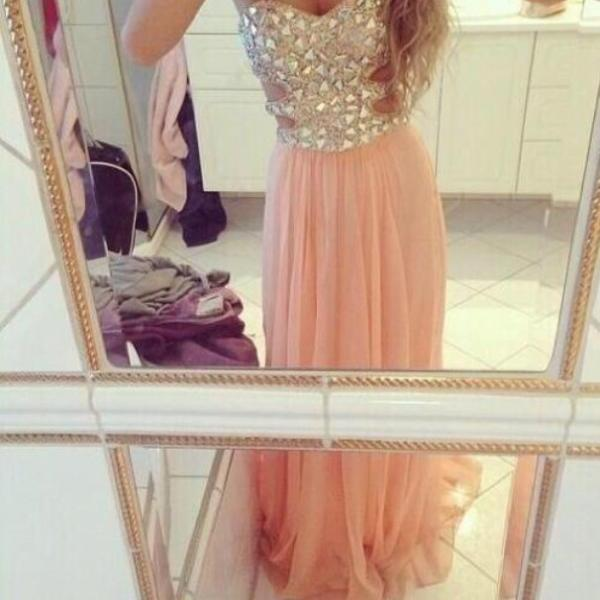 Custom Made A-line Strapless Rhinestone Long Prom Dresses, Evening Dresses, Formal Dresses, Pink Prom Dresses, Prom 2015