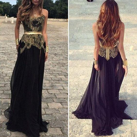 Black Prom Dresses,Strapless Prom Dress,Lace Prom Dress,Gold Lace Prom Dresses,2016 Formal Gown,Simple Evening Gowns,Unique Party Dress,Lace Prom Gown For Teens