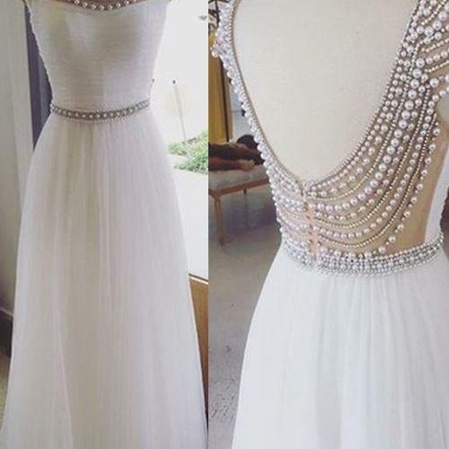 Charming Prom Dress,O-Neck Prom Dress,Backless Prom Dress,Tulle Prom Dress,A-Line Evening Dress