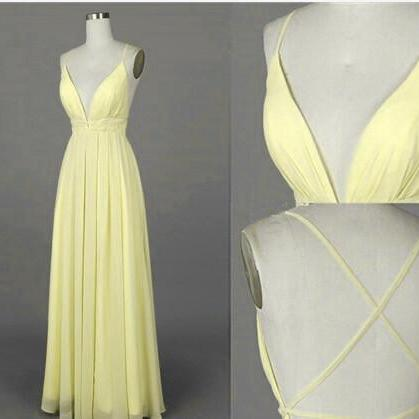 Beautiful Light Yellow Cross Back Long Chiffon Prom Dresses, Sexy Party Dresses, Evening Dresses