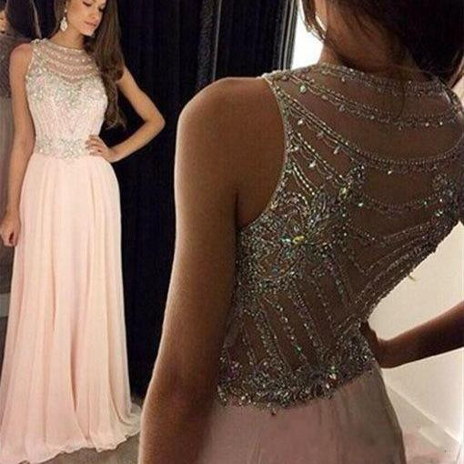 Elegant A-Line Long Chiffon Scoop Pink Prom Evening Dress with Beading, Pink Prom Dresses, Graduation Dresses, Semi Formal Dresses, Vestido de Festa, Prom Dress