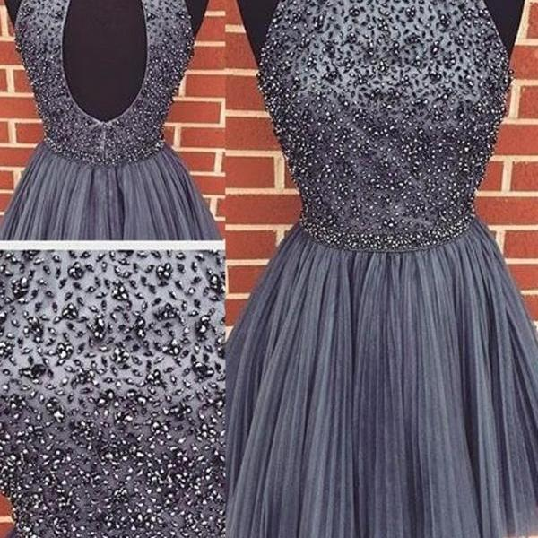 Short Grey Homecoming Dress 2016, Short Prom Homecoming Dresses, Sexy A-line Scoop Beaded Tulle Sleeveless Purple Backless Short Cocktail Homecoming Dress, Party Dress Open Back