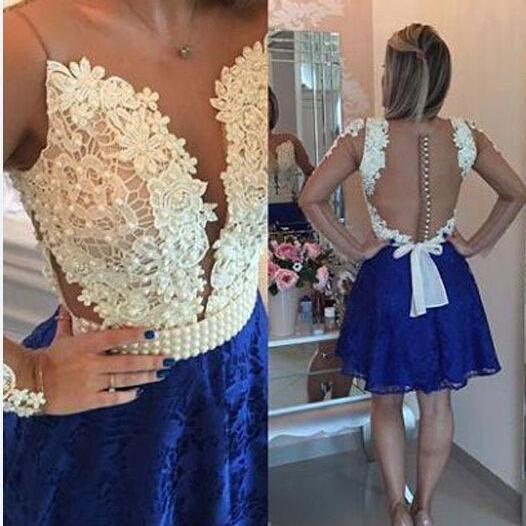 Sexy A-line Lace Homecoming Dress with Beading, Long Sleeves Homecoming Gown, Blue Lace Homecoming Dress, Short Lace Prom Dress, Sexy V neck Party Dresses