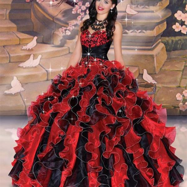 Classic Red and Black Quinceanera Dress,High Quality Embroidery Ball Gowns,Debutante Gown,Masquerade Ball Gowns,Organza Ball Gowns,Prom Ball Gowns,Party Ball Gowns,Ball Gown Dresses,Sweet 16 Dress