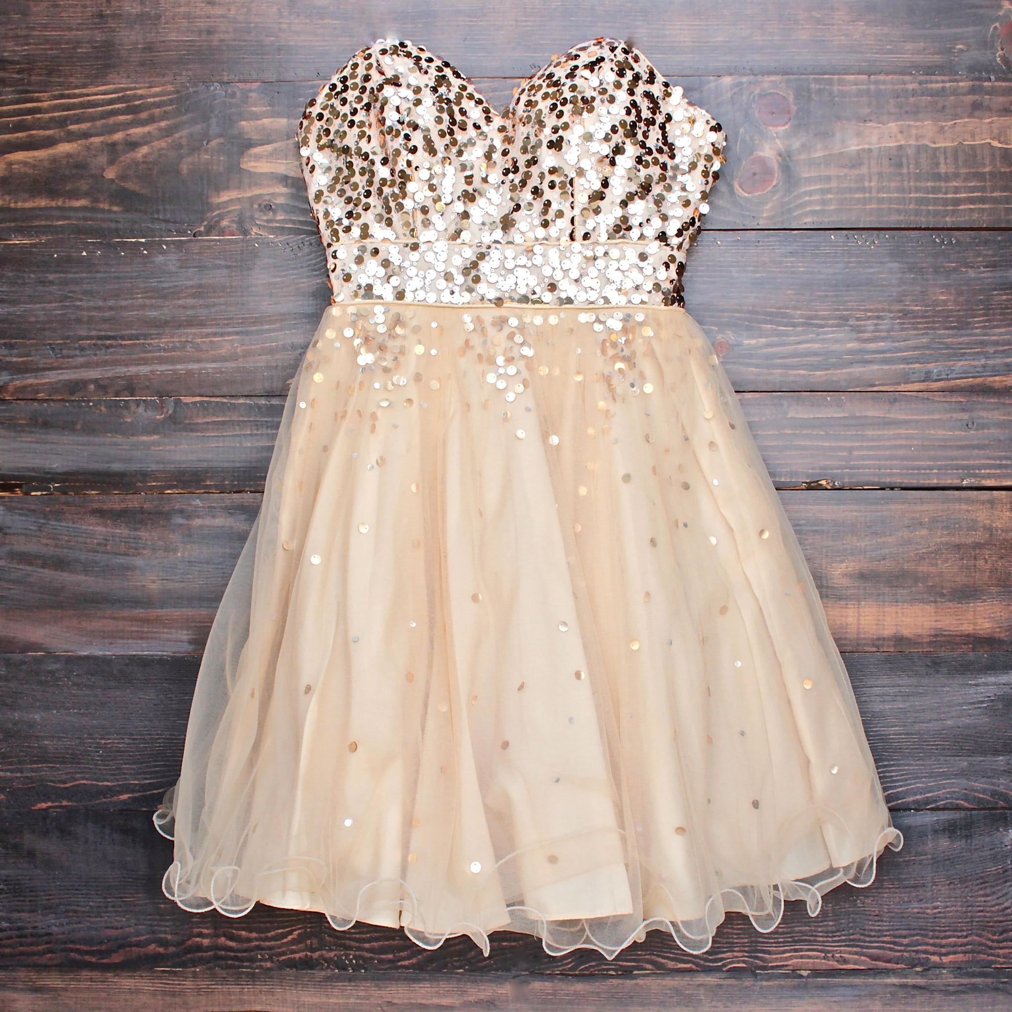 Glitter And Glam Sweetheart Strapless Gold Sequin Homecoming ...